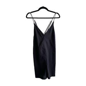 Topshop NWT black linen romper w/criss cross strap